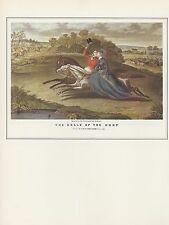 "1974 Vintage HUNTING ""BELLE OF THE HUNT"" KISSING ON HORSEBACK COLOR Lithograph"