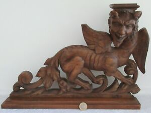 Antique rare walnut wood carving / chimere / dragon around 1850