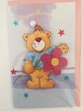 Carte Anniversaire  Luxe Relief + Enveloppe Carte Double