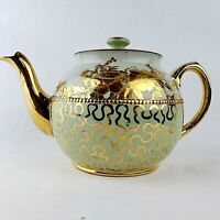 Vtg Sadler Brown Betty English Pottery Teapot Aqua Mint Green Gold Floral 1940
