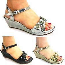 Girls and Young Ladies WEDGE FLOWER SUMMER SANDALS BEACH PARTY SHOES