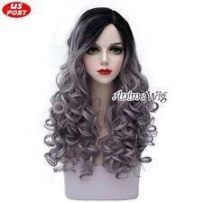Harajuku Lolita Long Black Mixed Gray Curly Women Party Ombre Cosplay Hair Wig