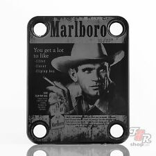 Black Engraved Guitar/Bass Neck Joint Heel/Back Plate (Standard 4 Bolt) #2089