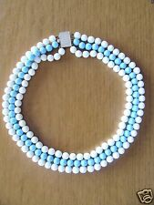 VINTAGE MILK WHITE & BLUE 3 STRAND GLASS BEADS NECKLACE AND EARRING SET
