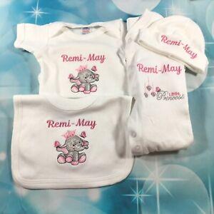 Personalised Baby Sleepsuit + Hat Set, Elephant Girl Pink Gift Newborn