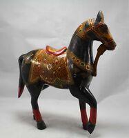 Indian Handicraft Wooden Big Horse Figure, Painted, Home Decorative Gift Item.