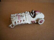 "Hubley Cast Iron Race Car 5"" White & Red Number 7 Original Parts or Restoration"