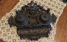 Vintage Art Nouveau Gothic Gargoyle Gilded Brass Double Inkwell