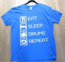 Blue & White T Shirt Eat Sleep Drums Repeat Funny Shirt for drummer Xl