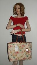 TOMMY BAHAMA FLORAL WHITE PARROT DESING TOTE SHOPPING HANDBAG, CANVAS NWT