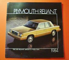 1984 PLYMOUTH RELIANT SHOWROOM SALE BROCHURE ..18- PAGES