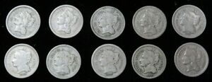 (10) 1865 -1881 UNITED STATES 3 CENT NICKEL 3c CIRCULATED COIN LOT