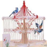 3D Karten Geburtstagsgeschenk hohlen Gruß Postkarten Vintage Love Birds Pap V1T8