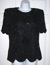 Women's Medium Evening Cocktail Top Black Sequins Beads Stunning New
