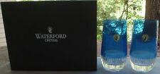 TWO Waterford Crystal Mixology Argon Blue Highball Tumblers Mint & New in Box
