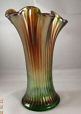"Northwood 7.5"" Fine Rib Vase Green Amethyst Carnival Glass ERR DOUBLE STAMP"