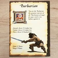 BARBARIAN CHARACTER CARD - HEROQUEST 1989 EDITION