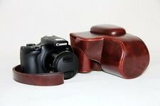 Coffee leather case bag for Canon Powershot SX60 HS camera SX60HS dark brown