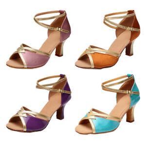 Women Latin Dance Shoes Standard Salsa Party Sandals Cross Laces High Heels New