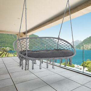 Outsunny Hanging Hammock Swing Chair Macrame Seat for Patio Garden