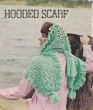 Hooded SCARF in Crochet Vintage 1970s Single Pattern Boho Hippie Retro Mod