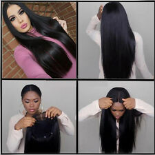 "24"" Long Straight Natural Black Heat resistant Synthetic Lace Front Wig"