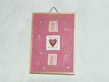 HAPPY 21st  BIRTHDAY WALL PLAQUE DEEP PINK & GOLD HEARTS STARS & KEYS DESIGN