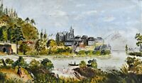 Oil Painting on Canvas Continental School River Scene Man with Dog Medieval Town