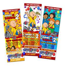 CAILLOU BIRTHDAY PARTY INVITATION TICKET CUSTOM PHOTO CARDS INVITE
