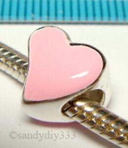 1x STERLING SILVER PINK TILTED HEART LOVE EUROPEAN BRACELET CHARM BEAD J145