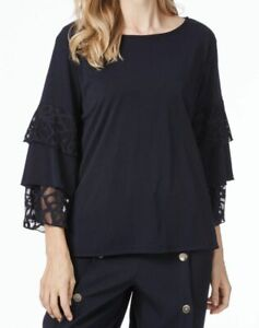 LADIES NEW WITH TAGS TABLE EIGHT LILY NAVY 3/4 SLEEVE TOP SIZE S RRP $69.99