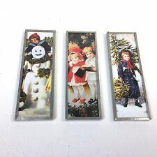 Set Of 3 Handmade Old Fashion Victorian Christmas Magnets Tin Metal Plexiglass