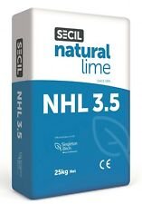 NATURAL HYDRAULIC LIME NHL 3.5 25KG BAG USE IN LIME SAND MORTAR, PLASTER, RENDER