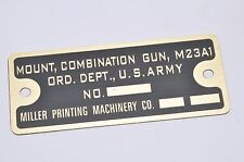 Ford M8 Armored Car / Greyhound M23A1 Data Plate