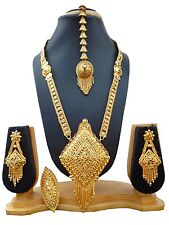 Gold Plated Indian Heavy 11'' Long Necklace Earrings Tikka Ring Wedding Set B