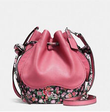 NWT COACH F57544 PETAL BAG IN LEATHER FLORAL MIX SILVER/STRAWBERRY PINK