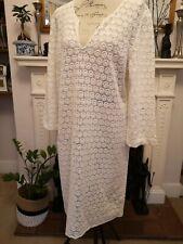 Gerard Darel de encaje blanco/marfil Vestido Boho Manga 3/4 tipo túnica encubrir 44 euros
