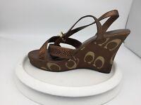 Coach Shoes Camelia Women's Bronze Ankle Strap Wedge Dress Sandals Size 8.5