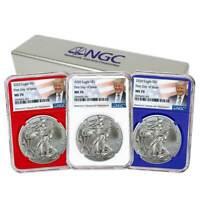 2020 $1 American Silver Eagle 3pc. Set NGC MS70 FDI Trump Label Red White Blue