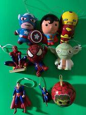 Lot Of 9 Marvel/Superman/Captain America/Spider-Man/Iron-man/Yoda X-mas ORNAMENT