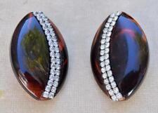 Vintage Signed LES BERNARD Silvertone Rhinestones Oval Shape Clip-On Earrings