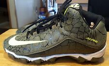 Nike Alpha high top sneakers boys cleats green and yellow size 4 1/2 leather *