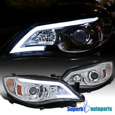 For 2008-2011 Subaru Impreza Outback LED DRL Projector Headlights Chrome/ Clear