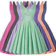 Tanzkleid Pin-Up Damen Vintage 50er Kleid Polka Dots Partykleid Petticoat XS-3XL