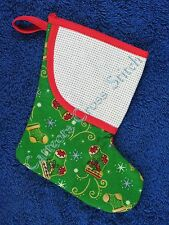 Cross Stitch Mini Christmas Stocking Green with Snow & Stockings Personalise