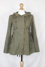 Topshop Smart Khaki Army Green Fitted Parka Style Coat with Hood size 6