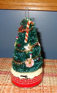 UNUSUAL OLD VINTAGE 1950'S TIN LITHO CHRISTMAS TREE MADE IN JAPAN non working
