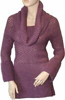 Ladies long length jumper tunic cowl neck, NEW in heather Size 8 10 12 14 18
