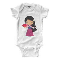 Infant Gerber Onesies Bodysuit Baby Gift Clothes Cute Princess Mulan Walt Disney