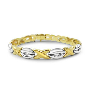 9ct Two Tone Gold Fancy Polished Satin X O Bracelet 7mm 7.5inch 11.73g RRP £410